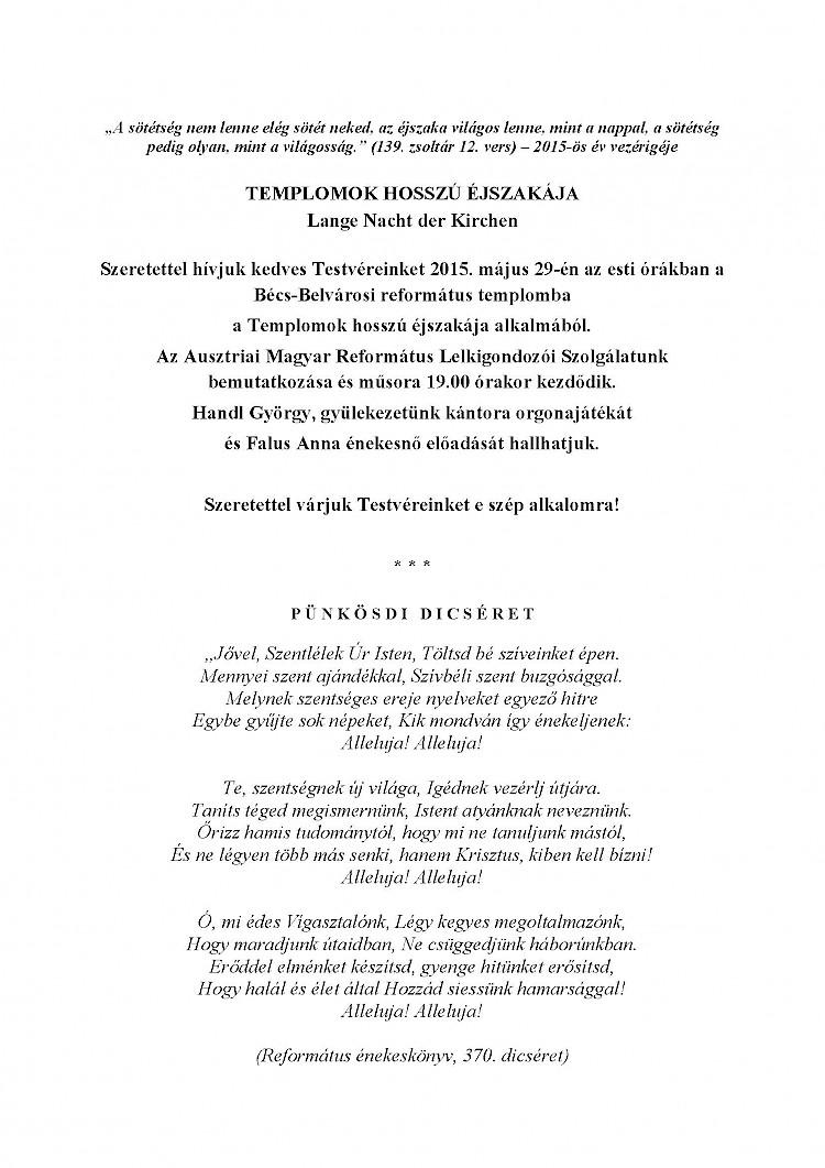 Ausztriai Magyar Református Lelkigondozó Szolgálat – Pünkösdi körlevéle