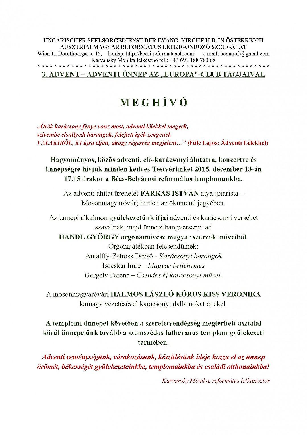 3.ADVENT – ADVENTI ÜNNEP AZ EUROPA-CLUB TAGJAIVAL