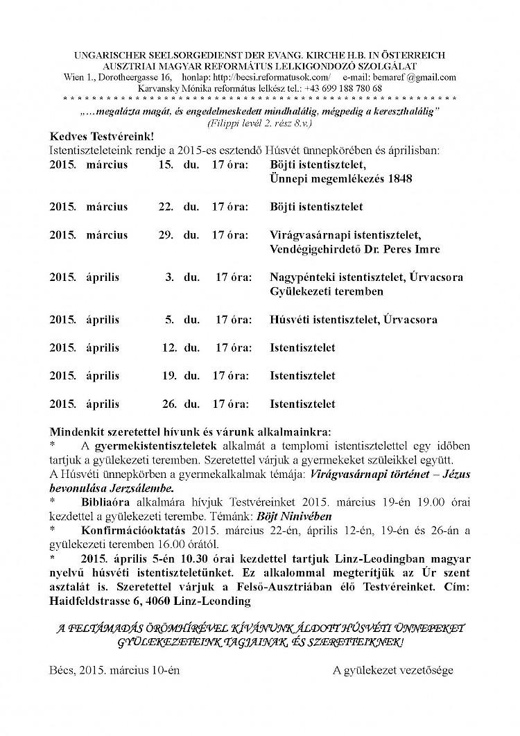 Ausztriai Magyar Református Lelkigondozó Szolgálat – 2015.március – áprilisi programjai