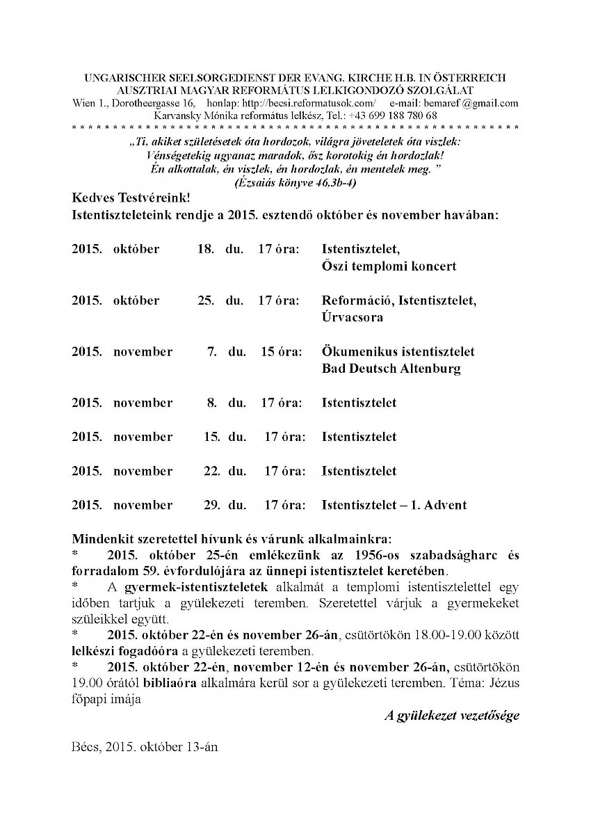 Ausztriai Magyar Református Lelkigondozó Szolgálat: 2015 Október a reformáció hónapja_gyülekezeti körlevél