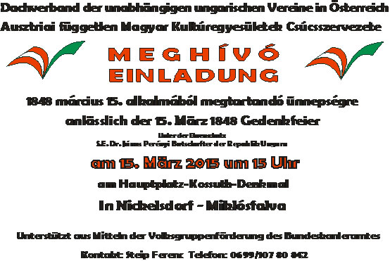 A Csúcsszervezet március 15-ei ünnepségének meghívója