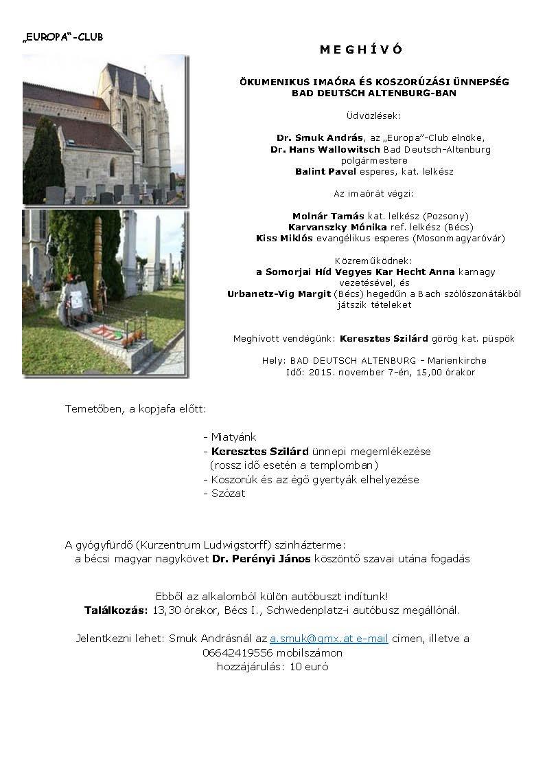 Ökumenikus imaóra és koszorúzási ünnepség  Bad Deutsch Altenburgban