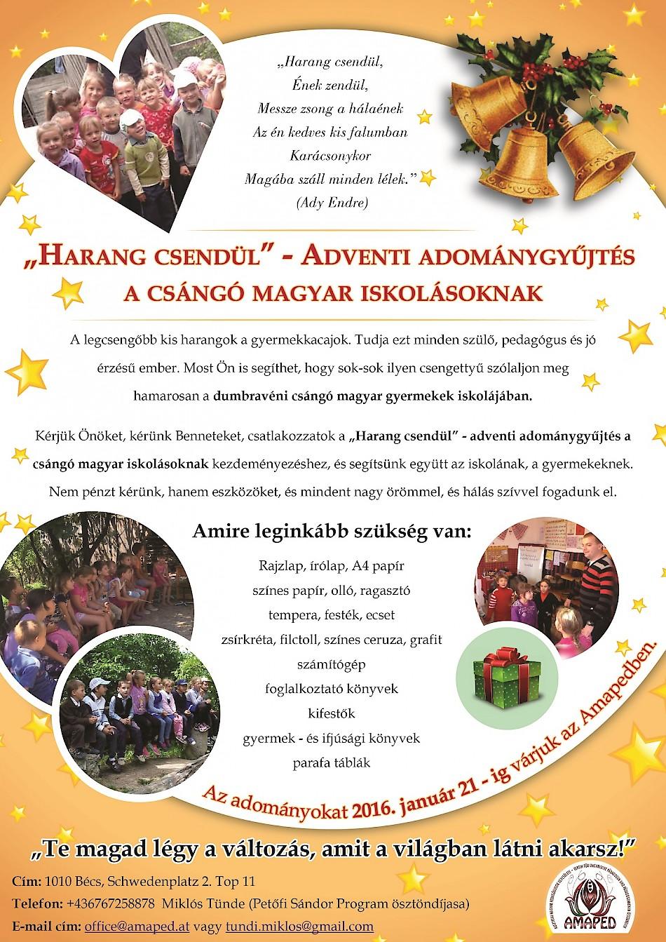 """""""Harang csendül"""" – Adventi adománygyűjtés a csángó magyar iskolásoknak"""