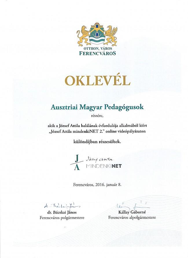 Különdíjat nyert az Ausztriai Magyar Pedagógusok Egyesületének rövidfilmje