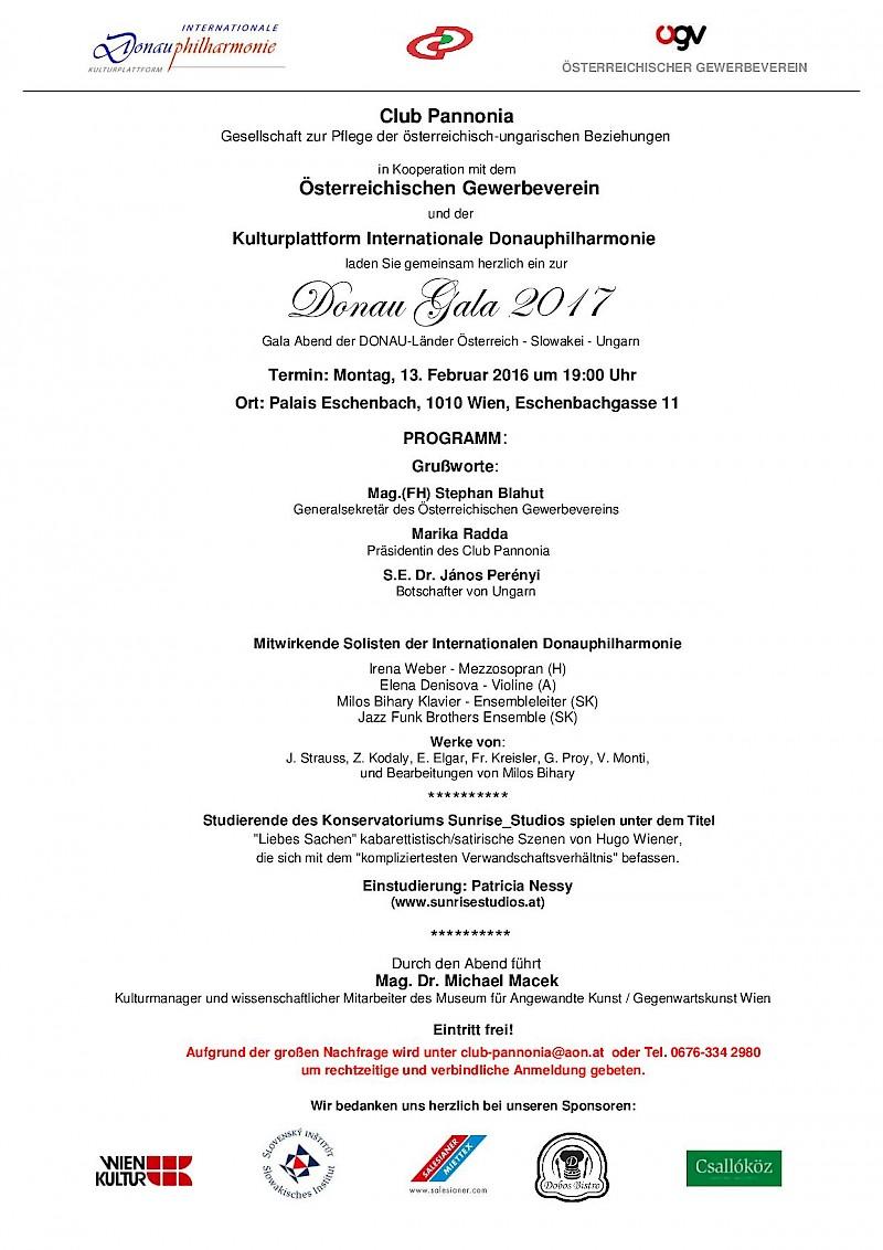 DUNA GÁLA a Club Pannonia és a Nemzetközi Dunafilharmónia szervezésében
