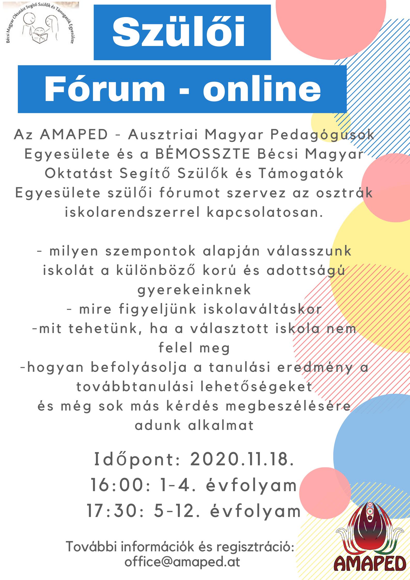 Online Szülői fórum az AMAPED és a BÉMOSSZTE szervezésében